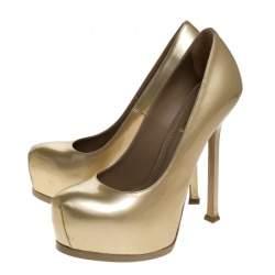 Saint Laurent Paris Gold Patent Leather Tribtoo Pumps Size 36
