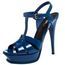 Saint Laurent Paris Blue Patent Leather Tribute Platform Sandals Size 38