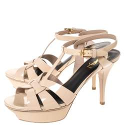 Saint Laurent Paris Beige Patent Leather Tribute Platform Sandals Size 39
