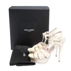 Saint Laurent Paris Offwhite Patent Leather Tribute Ankle Strap Sandals Size 39.5