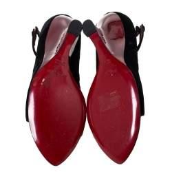 Saint Laurent Black Velvet Tai Tai Wedge Open Ankle Strap Sandals Size 39.5