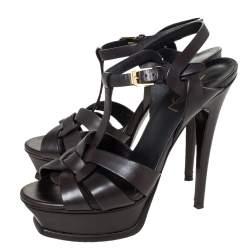 Saint Laurent Paris Dark Brown Leather Tribute Platform Ankle Strap Sandals Size 36.5