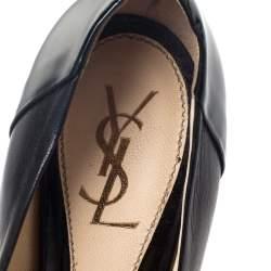 Saint Laurent Black Leather and Patent Leather Janis Pointed Toe Platform Pumps Size 37.5