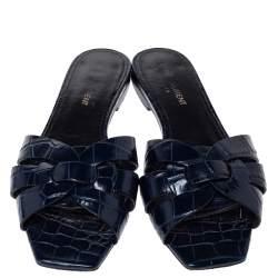 Saint Laurent Paris Blue Croc Embossed Leather Tribute Flat Slides Size 37.5