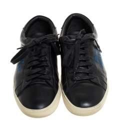 Saint Laurent Paris Black Leather Court Classic Logo Sneakers Size 39.5