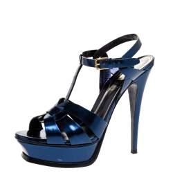 Saint Laurent Paris Metallic Dark Blue Leather Tribute Platform Sandals Size 38.5
