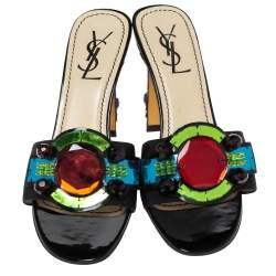 Saint Laurent Paris Black Gem Embellished Open Toe Sandals Size 35.5