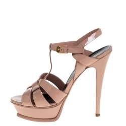 Saint Laurent Paris Beige Patent Leather Tribute Platform Sandals Size 39
