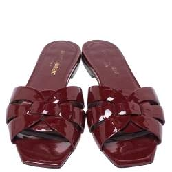 Saint Laurent Paris Red Patent Leather Tribute Flat Slides Size 36