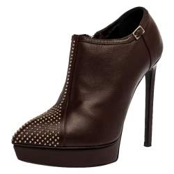 Saint Laurent Paris Brown Leather Studded Platform Ankle Booties Size 36