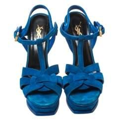 Saint Laurent Paris Blue Suede Platform Tribute Sandals Size 37