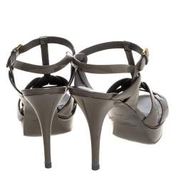 Saint Laurent Paris Olive Green Patent Leather Tribute Ankle Strap Sandals Size 41