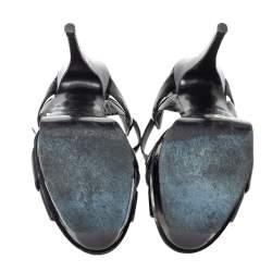 Saint Laurent Paris Black Patent Leather Tribute Platform Sandals Size 39