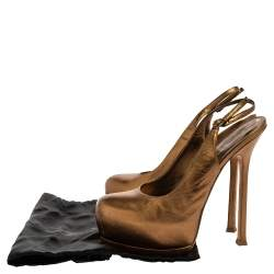 Saint Laurent Paris Metallic Gold Leather Tribtoo Slingback Sandals Size 38.5