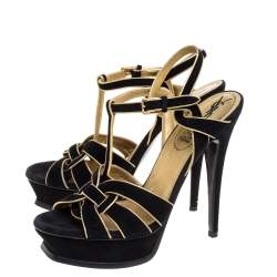 Saint Laurent Paris Black Suede Leather Tribute Platform Ankle Strap Sandals Size 39