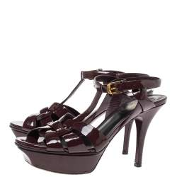 Saint Laurent Paris Brown Patent Leather Tribute Platform Ankle Strap Sandals Size 35
