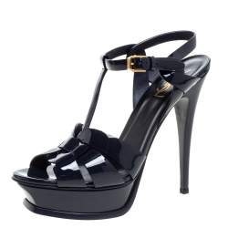 Saint Laurent Paris Navy Blue Patent Leather Tribute Platform Sandals Size 39.5