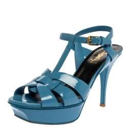 Saint Laurent Paris Blue Patent Leather Tribute Sandals Size 38