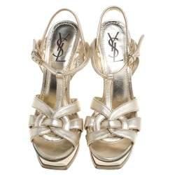 Saint Laurent Paris Gold Leather Tribute Platform Ankle Strap Sandals Size 39