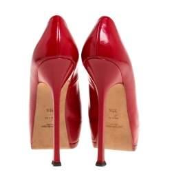 Saint Laurent Paris Red Leather Tribtoo Platform Pumps Size 38.5