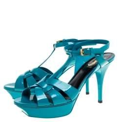 Saint Laurent Paris Turquoise Patent Leather Tribute Platform Sandals Size 40