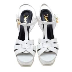 Saint Laurent Paris White Lizard Embossed Leather Tribute Platform Sandals Size 39