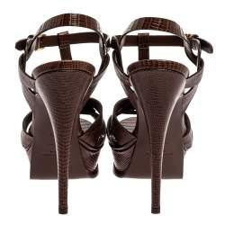 Saint Laurent Paris Brown Lizard Embossed Leather Tribute Ankle Strap Platform Sandals Size 38.5