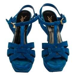 Saint Laurent Aegean Blue Suede Tribute Platform Ankle Strap Sandals Size 38