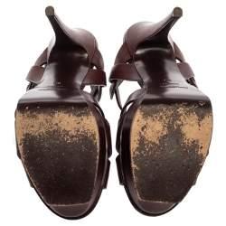 Saint Laurent Paris Dark Burgundy Leather Tribute Platform Sandals Size 39