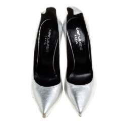Saint Laurent Paris Silver Leather Thorn Pointed Toe Pumps Size 37