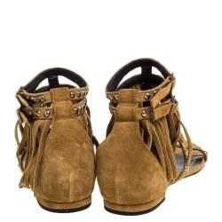Saint Laurent Paris Beige Suede Fringed Ankle Strap Flats Size 36