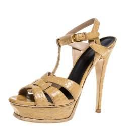 Saint Laurent Beige Croc Embossed Leather Tribute Platform Sandals Size 38