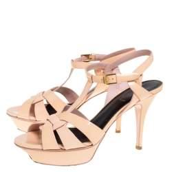 Saint Laurent Paris Peach Patent Leather Tribute Platform Sandals Size 38.5
