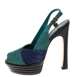 Saint Laurent Paris Green/Blue Suede and Leather Criss Cross Platform Slingback Sandals Size 38