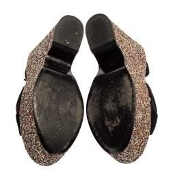 Saint Laurent Black Suede and Coarse Glitter Wedge Platform Sandals Size 36.5