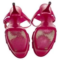 Saint Laurent Paris Fuchsia Leather Tribute Platform Sandals Size 37
