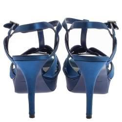 Saint Laurent Paris Blue Satin Tribute Ankle Strap Sandals Size 40