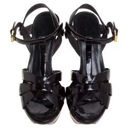 Saint Laurent Paris Dark Burgundy Patent Leather Tribute Sandals Size 37
