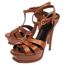 Saint Laurent Paris Brown Leather Tribute Sandals Size 36.5