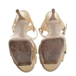 Saint Laurent Paris Beige Patent Leather Tribute Sandals Size 35.5