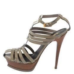 Saint Laurent Paris Grey Patent Leather Tribute Gladiator Platform Sandals Size 39.5