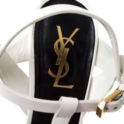Saint Laurent Paris White Leather Tribute Platform Sandals Size 37.5