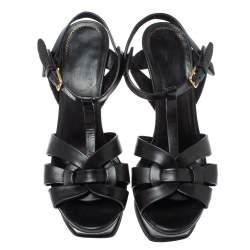 Saint Laurent Paris Black Leather Tribute Platform Ankle Strap Sandals Size 38