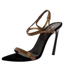 Saint Laurent Paris Gold Leather Talitha Sandals Size 37.5