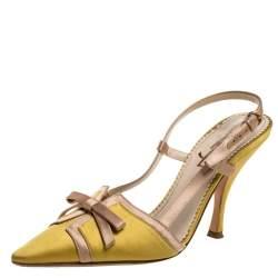 Saint Laurent Vintage Yellow Satin Bow Slingback Sandals Size 37.5