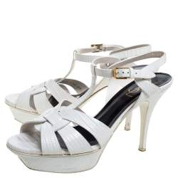 Saint Laurent Paris White Lizard Embossed Leather Tribute Sandals Size 39