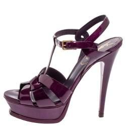 Saint Laurent Paris Purple Patent Leather Tribute Platform Sandals Size 38