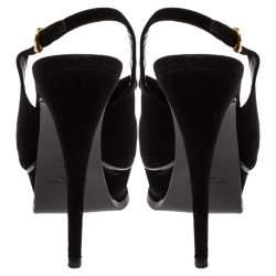 Saint Laurent Paris Black Suede Leather Tribute Fringe Chain Detail Platform Slingback Sandals Size 36