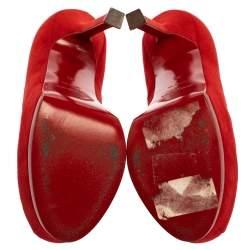 Saint Laurent Paris Red Suede Leather Tribtoo Platform Pumps Size 35