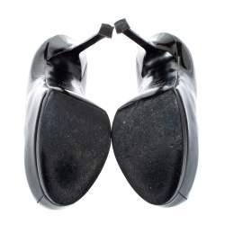 Saint Laurent Paris Black Patent Leather Tribtoo Platform Pumps Size 36
